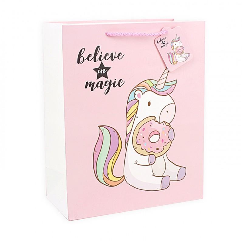 Подарочный пакет Halluci «Единорог с пончиком» L