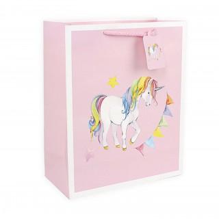 Подарочный пакет Halluci «Единорог» розовый S