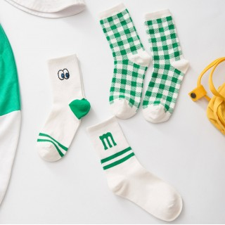 Носки «Клетка» зелёные