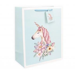 Подарочный пакет Halluci «Единорог» голубой S