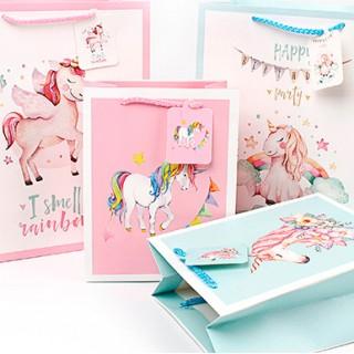 Подарочный пакет Halluci «Единорог» розовый L