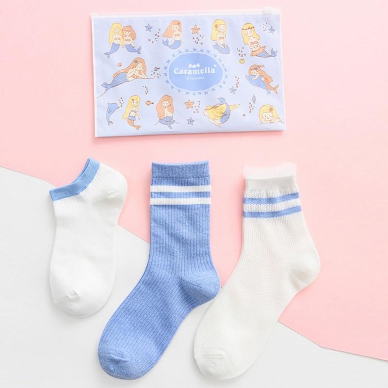 Набор носков «Спорт» бело-голубые в мягкой упаковке, 3 пары