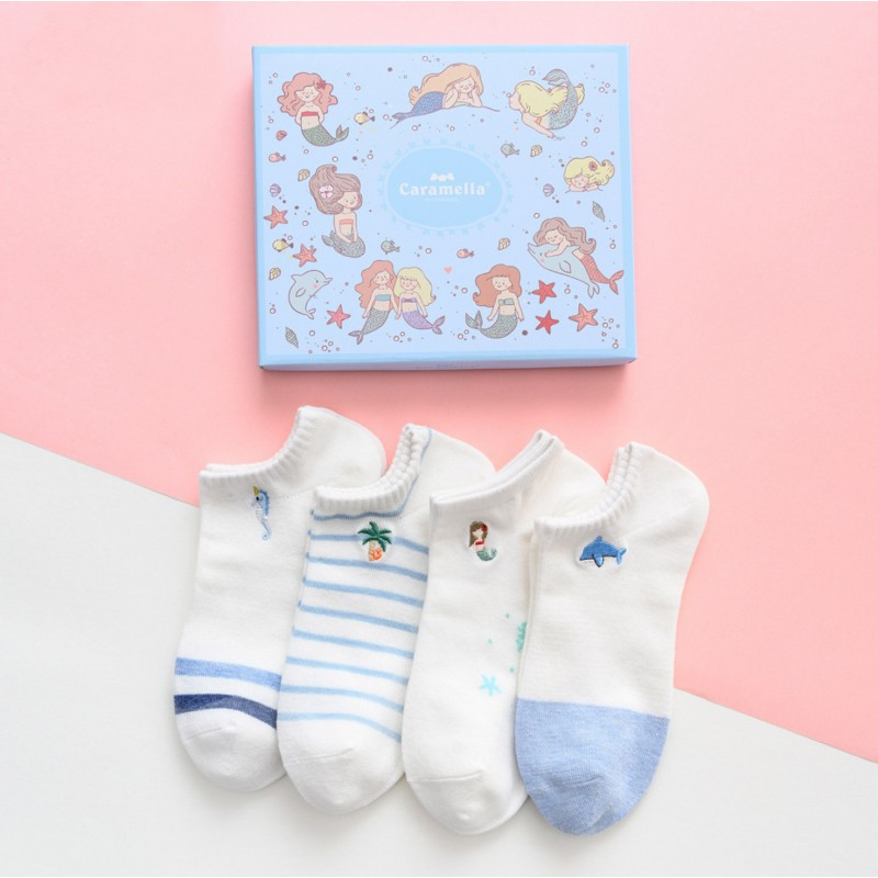Набор носков «Русалки» голубые, 4 пары