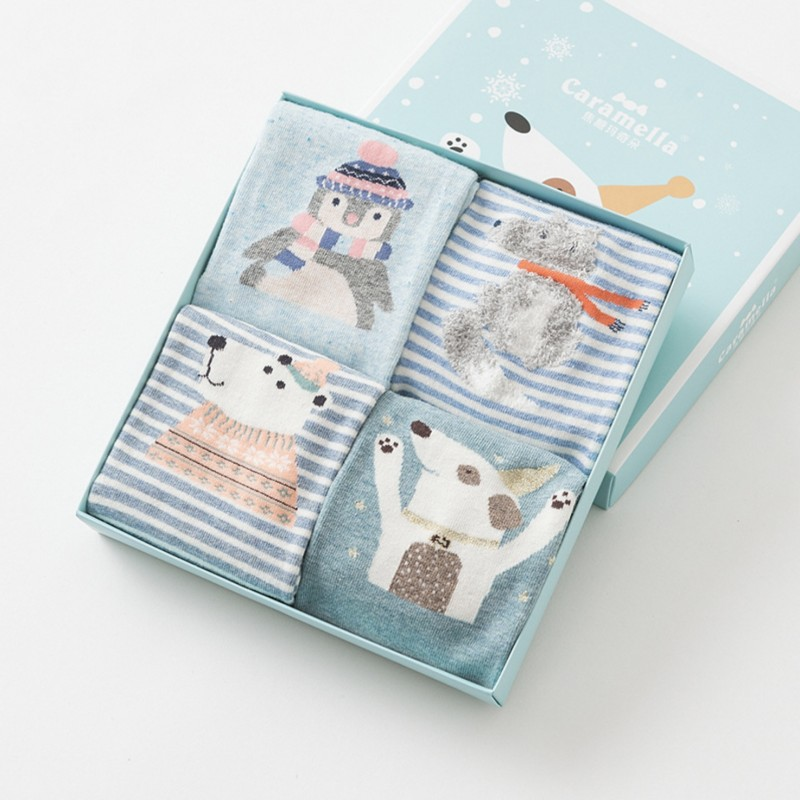 Набор носков «Зимний пёс», 4 пары