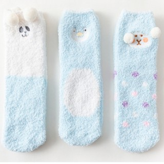 Набор мягких носков «Животные» голубые, 3 пары