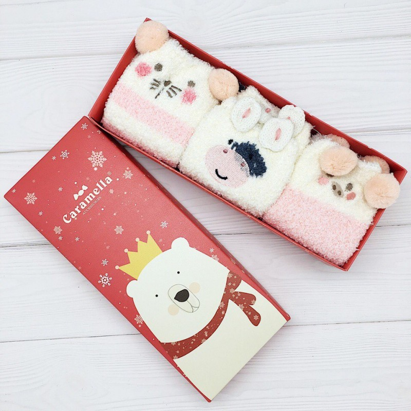 Набор мягких носков новогодний «Животные», 3 пары